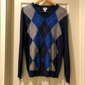 Old Navy argyle blue sweater size medium